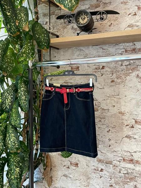 Damen Jeansrock mit rotem Gürtel