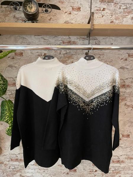 Damen langer Pullover mit transparentem Ausschnitt und Pailletten