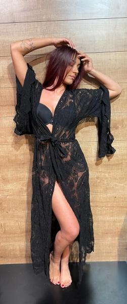 Damen langer Spitzen Kimono
