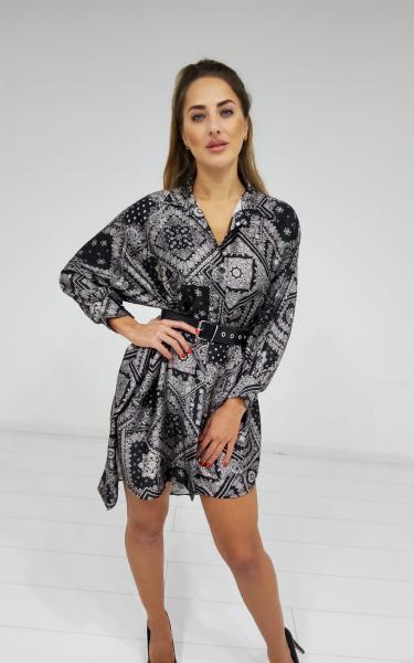 Damen Bandana Muster Oversize Hemdkleid