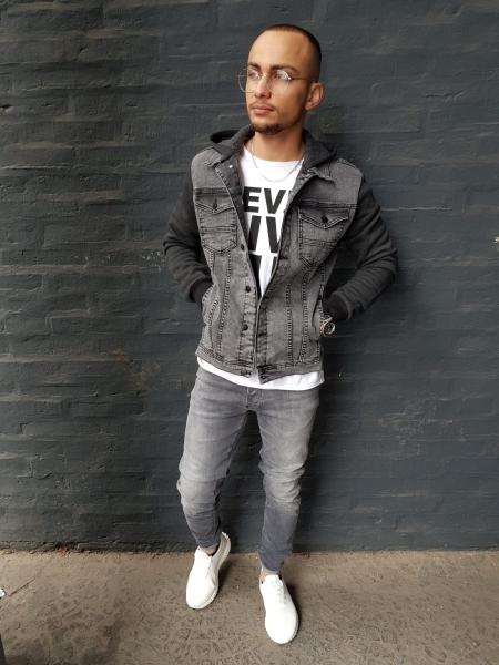 Herren Jeans Jacke mit Jersey Einsatz