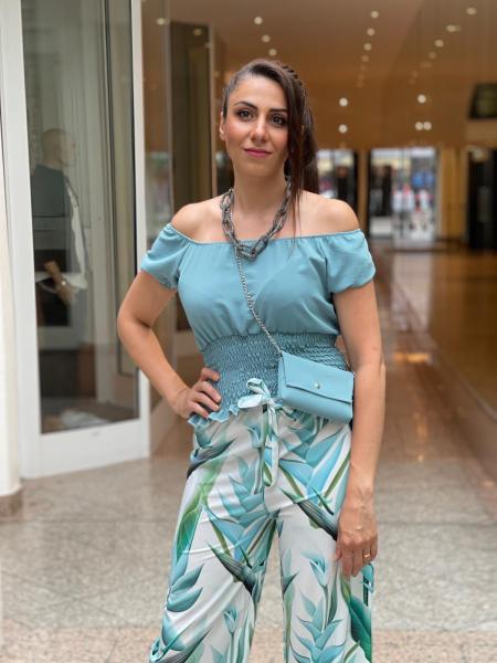 Damen Schulterfreie Bluse mit Tasche