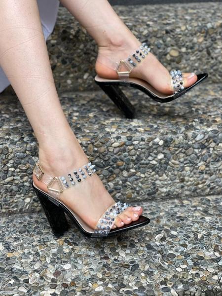 Damen High Heels mit Marmor Optik Nieten