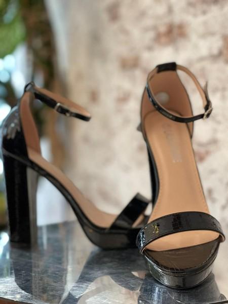 Damen schwarze Schlangen inprint High Heels mit Knöchel Riemen