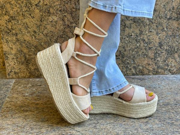 Damen Plateau Sandalen zum Schnüren