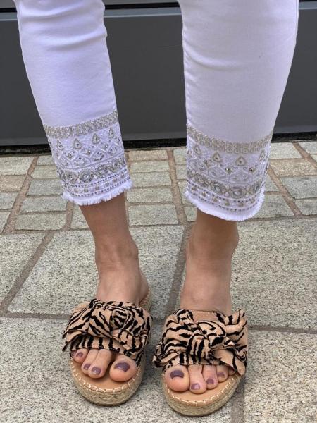 Damen Pantoletten mit Schleife