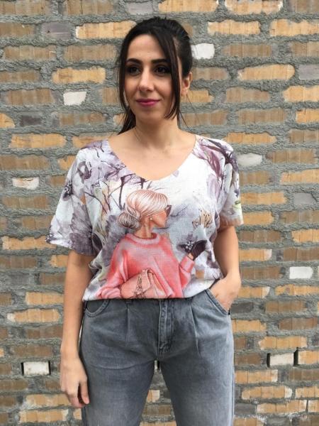 Damen Strick Shirt mit Print