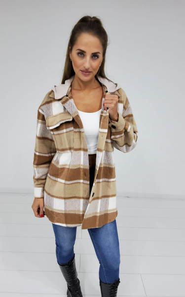 Damen Hemdjacke mit Jersey Kapuze