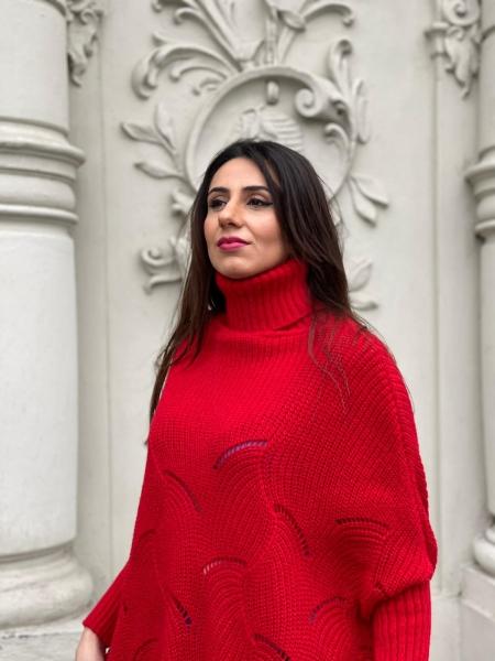 Damen Rollkragen Pullover mit Fledermaus Ärmeln