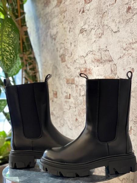 Damen schlichte Stiefel mit Plateau Sohle