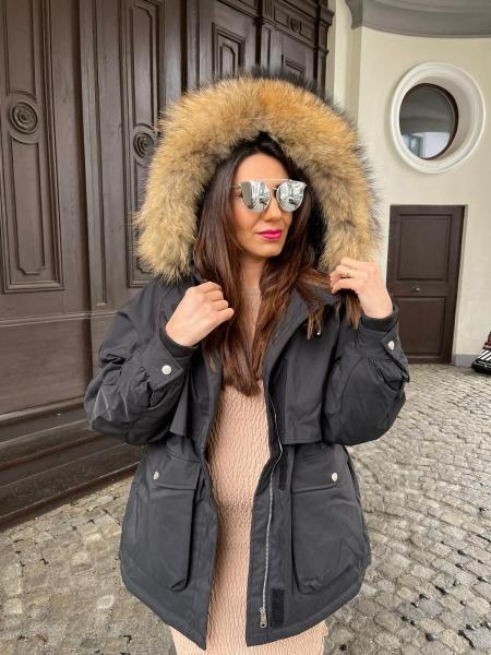 Damen Schwarzer  Winter Mantel