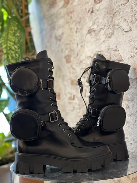Damen hohe schwarze Combat Stiefel mit zwei Seitentaschen