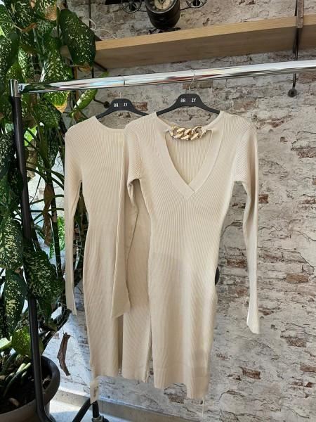 Damen Kleid mit Cut out Ausschnitt mit Kette