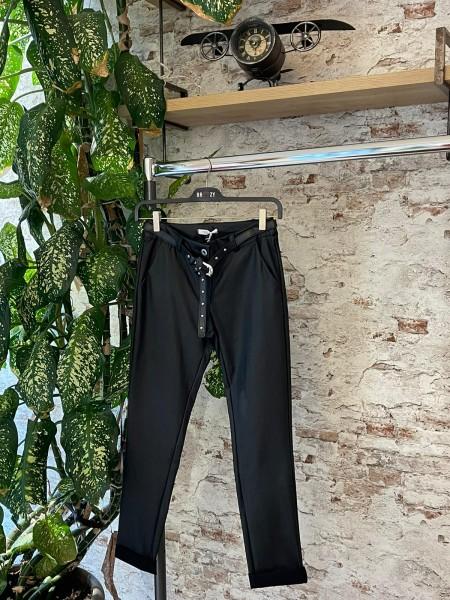 Damen sportlich elegante Lederoptik Hose mit Gürtel