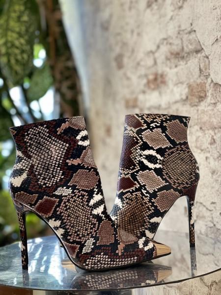 Damen Stiefeletten im Schlangen Design mit Gold Applikation