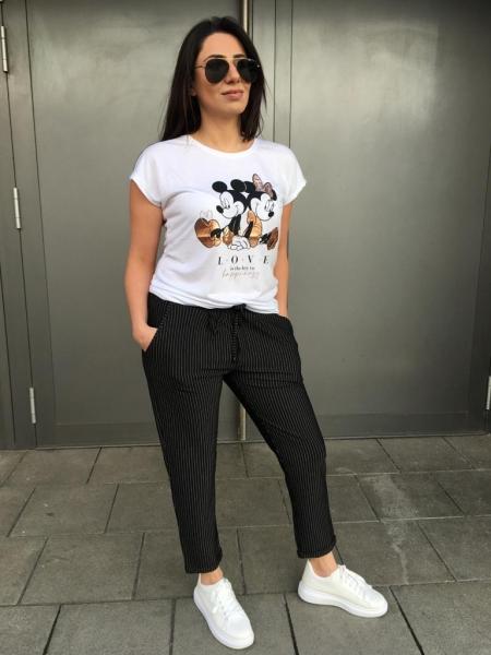 Damen Mickey Mouse Glitzer T-Shirt