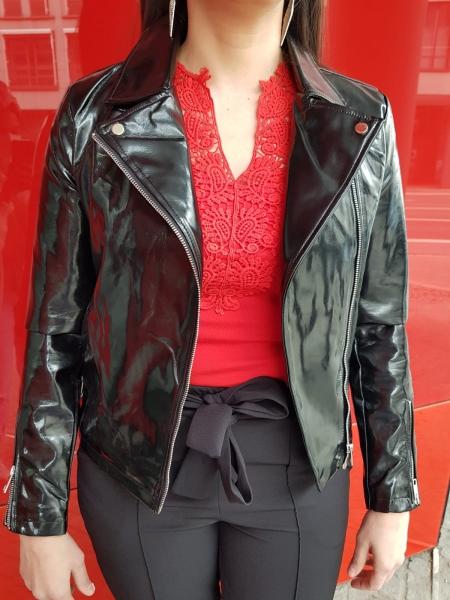Damen Latex Optik Lederjacke