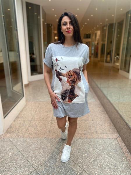 Damen T-Shirt Kleid mit Aufnäher und Taschen