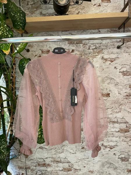 Damen Spitzen Bluse mit Volant und Tüll