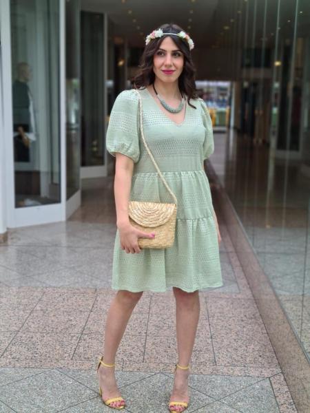 Damen Lochstickerei Mini Kleid